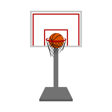 Basketball hoop and net with a ball inside. Vector illustration design