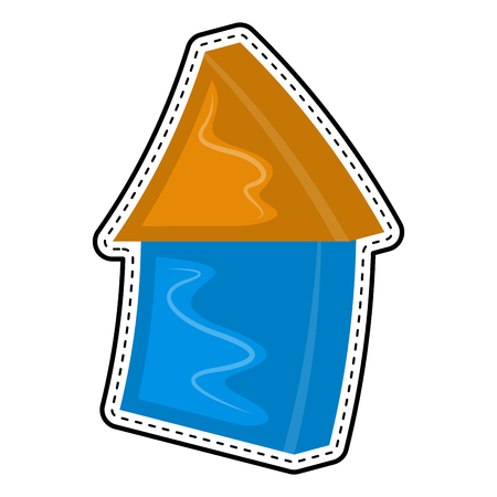 Isolated house dotted sticker. Vector illustration design