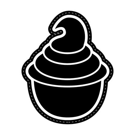 Ice cream sundae icon dotted sticker. Vector illustration design