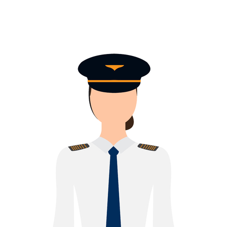 Isoliertes weibliches Pilotenbild. Vektorillustrationsdesign Vektorgrafik