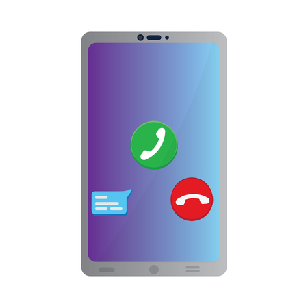 Smartphone with a call buttons. Mobile app. Vector illustration design