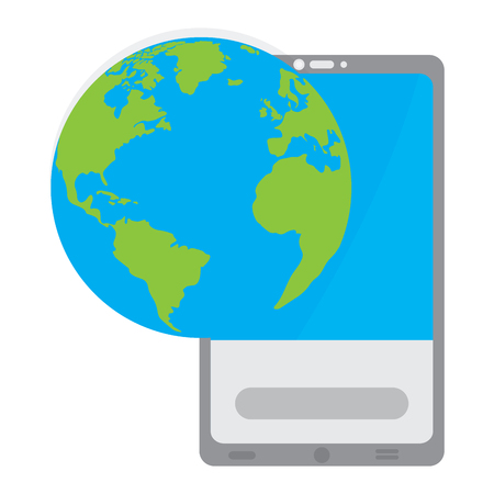 Smartphone with an earth planet icon. Mobie app. Vector illustration design Ilustração