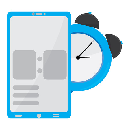 Smartphone with a clock icon. Mobile app. Vector illustration design