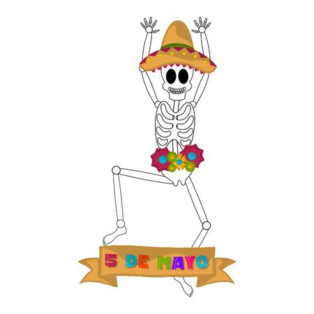 Cinco de mayo banner with a mexican skeleton - Vector