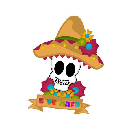 Banner de cinco de mayo con una calavera mexicana - Vector