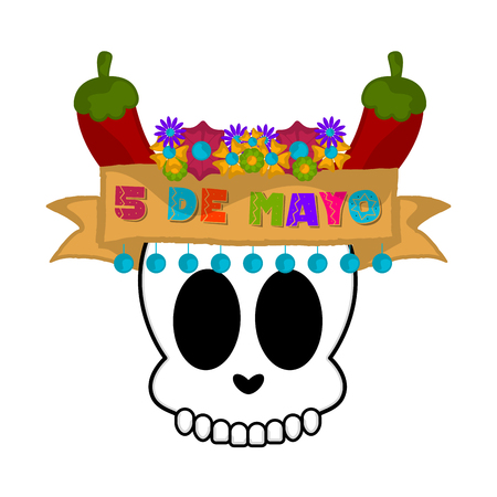 Cinco de mayo banner with a mexican skull and pepers - Vector Stock Illustratie