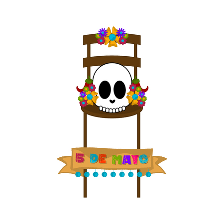 Cinco de mayo banner with a mexican skull on a chair - Vector