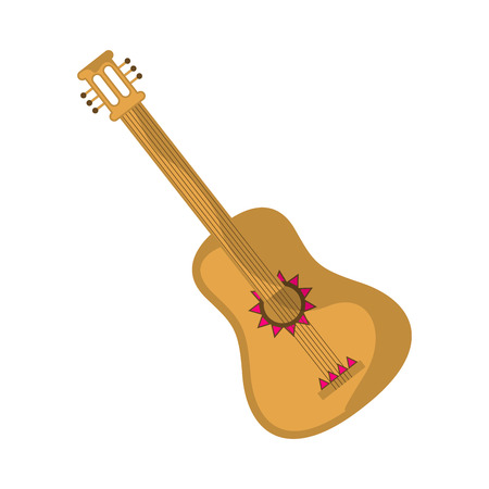 Isolated colorful and decorated mexican guitar - Vector Ilustracja