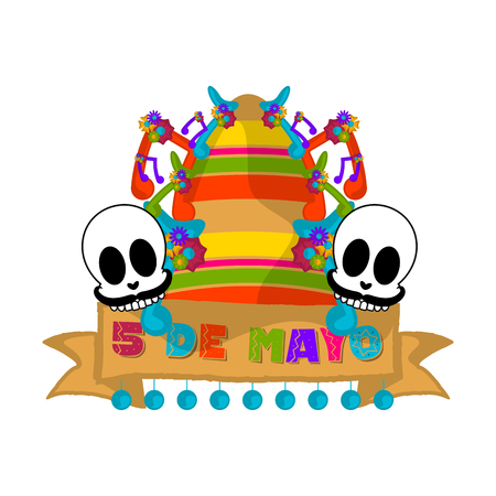 Cinco de mayo banner with a mexican hat and skulls - Vector