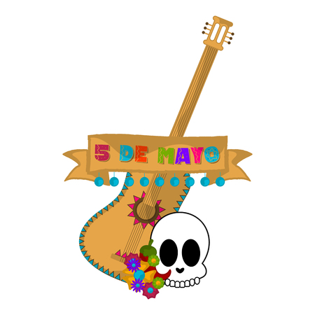 Cinco de mayo banner with a guitar and skull - Vector Illustration