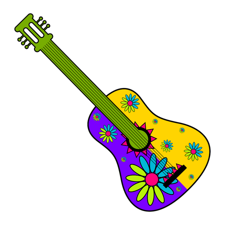 Isolated mexican guitar decorated with flowers - Vector