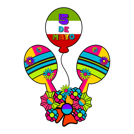 Mexican maracas with a balloon and flowers - Vector