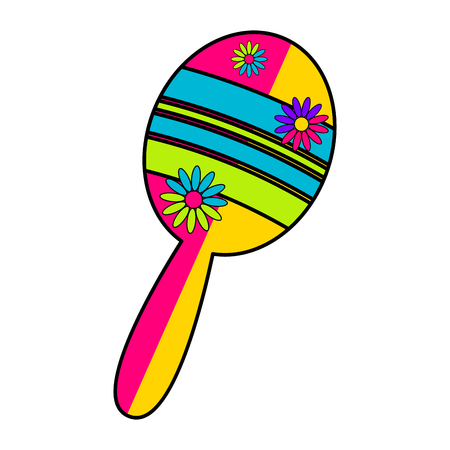 Isolated traditional colored mexican maraca image - Vector Vector Illustration