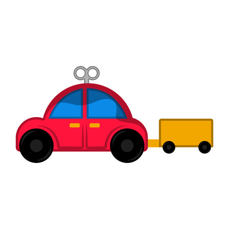 Isolated red car toy with crank - Vector Illustration