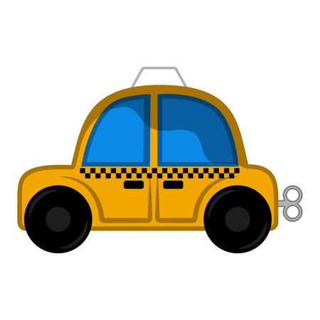 Isolated taxi toy for kids with crank - Vector