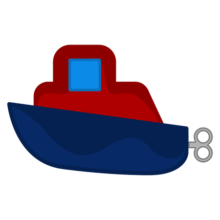 Isolated colored boat toy with crank - Vector