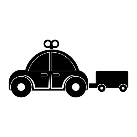 Isolated red car toy with crank icon - Vector Illustration