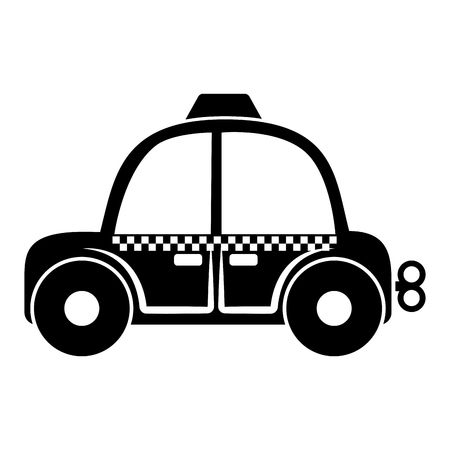 Isolated taxi toy for kids with crank icon - Vector Illustration