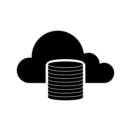 Cloud computing icon with a database symbol - Vector