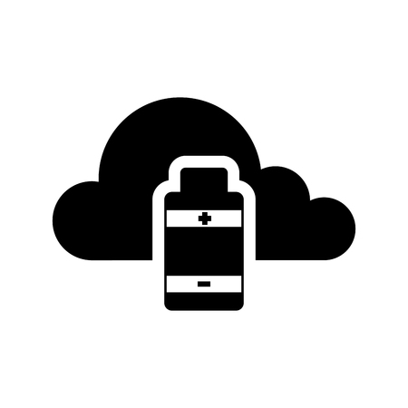 Cloud computing icon with an usb symbol - Vector