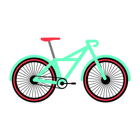 Side view of a colored bicycle - Vector Иллюстрация