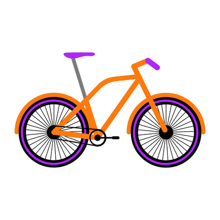 Side view of a colored bicycle - Vector Vectores