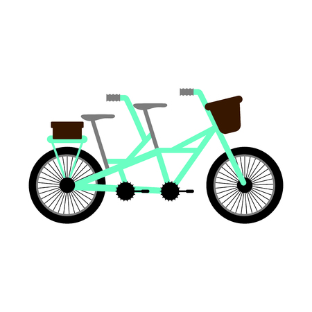 Side view of a dual bicycle for couples - Vector