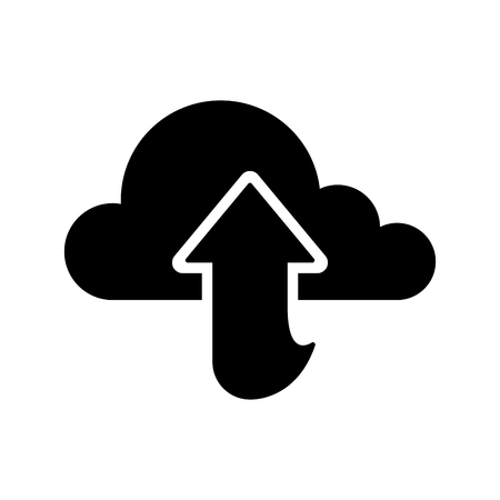 Cloud computing icon with an upload arrow - Vector