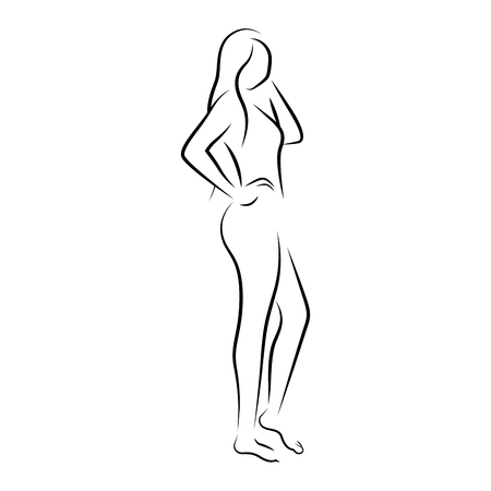 isolated outline of a beauty woman - Vector Illustration