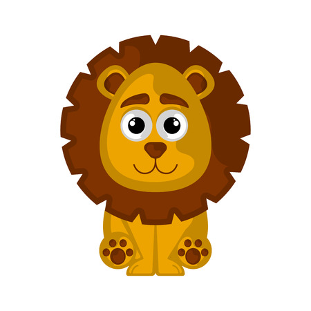 Isolated cute lion on white background - Vector Illustration