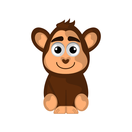 Isolated cute monkey on white background - Vector