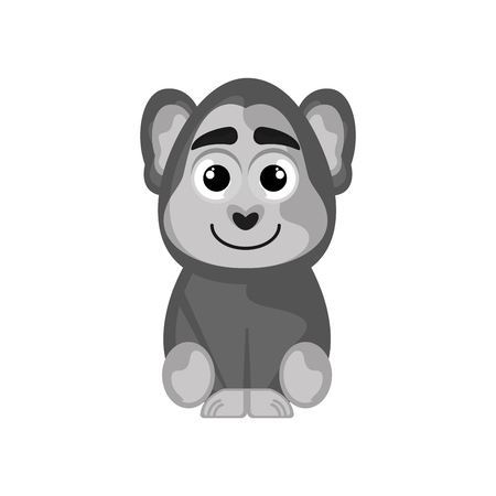 Isolated cute gorilla on white background - Vector