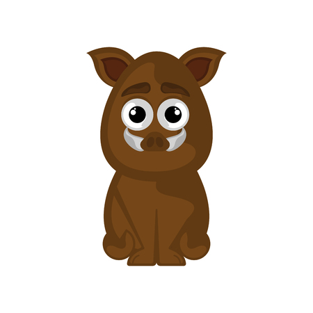 Isolated cute wild boar on white background - Vector