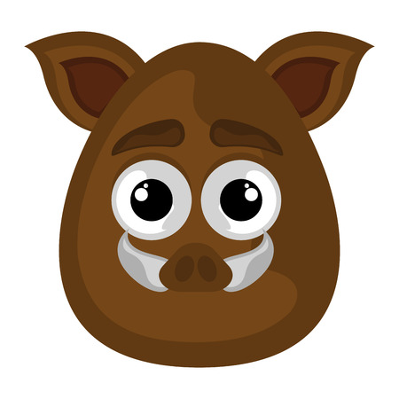 Isolated cute avatar of a wild boar - Vector Illustration
