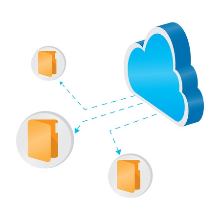 3d cloud computing icon with folder symbols - Vector Ilustração