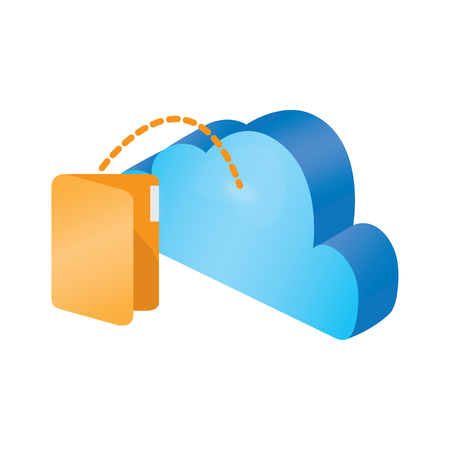 3d cloud computing icon with a folder symbol - Vector