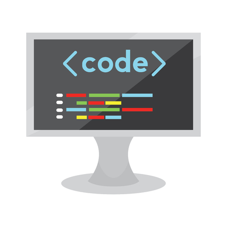 Programming code on a monitor screen - Vector