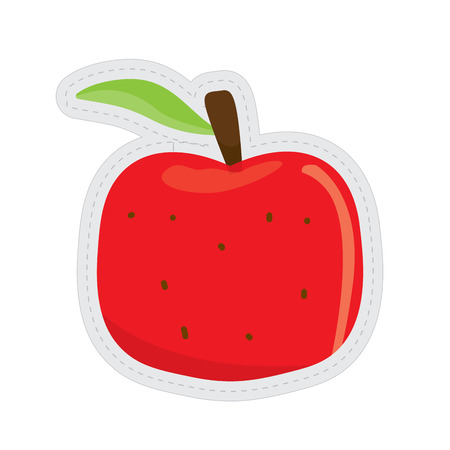 Apple dotted sticker image. Vector illustration design