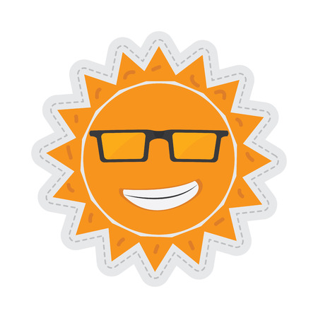 Sun cartoon with glasses dotted sticker. Vector illustration design