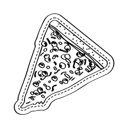 Pizza slice icon dotted sticker. Vector illustration design