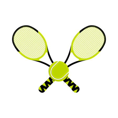 Pair of racket tennis and a ball - Vector