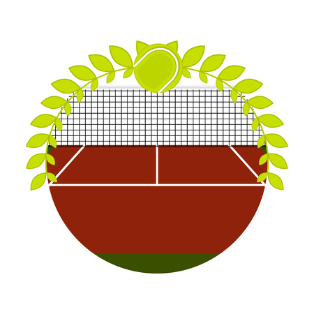 Sport emblem with a tennis field and a laurel wreath - Vector Illustration