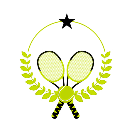 Tennis emblem with rackets and a laurel wreath - Vector