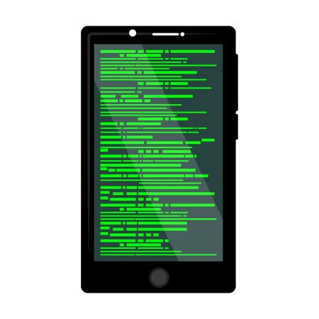 Programming code on a smartphone screen - Vector