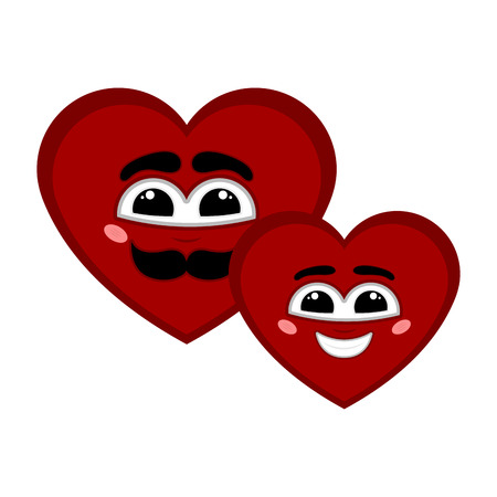 Pair of happy heart shapes with a smile - Vector Imagens - 122803700