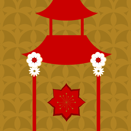 Floral pattern background with a japanese temple - Vector