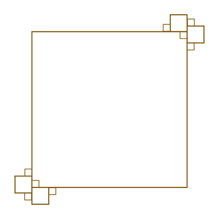 Isolated elegant square golden frame image - Vector