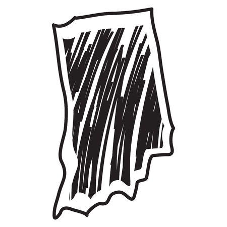 Isolated sketch of the state of Indiana - Vector Illustration