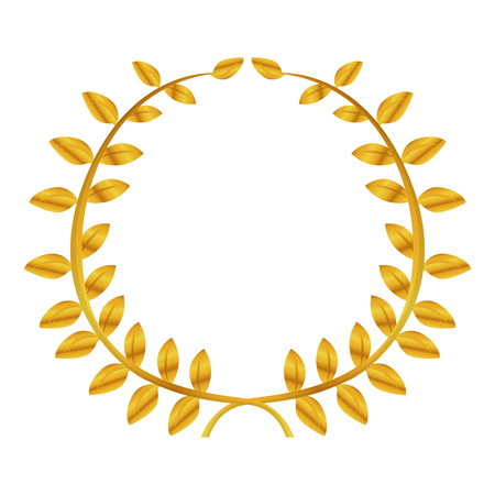 Isolated golden laurel wreath on a white background - Vector