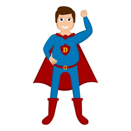与英雄服装的被隔绝的超级爸爸 - 向量
